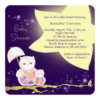 Fiesta de bienvenida al bebé de los búhos de la invitación 13,3 cm x 13,3cm