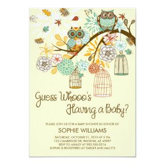 Fiesta de bienvenida al bebé de los búhos y de las invitación 12,7 x 17,8 cm