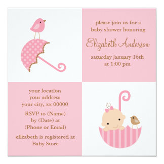 Fiesta de bienvenida al bebé de los chicas invitación 13,3 cm x 13,3cm