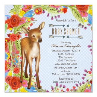 Fiesta de bienvenida al bebé de los ciervos del invitación 13,3 cm x 13,3cm
