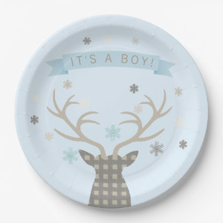 Fiesta de bienvenida al bebé de los ciervos del plato de papel