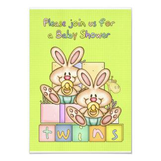 Fiesta de bienvenida al bebé de los gemelos - invitación 8,9 x 12,7 cm