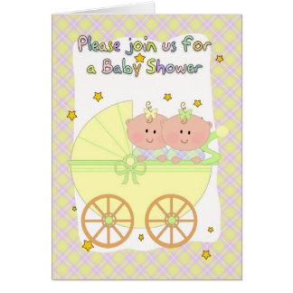Fiesta de bienvenida al bebé de los gemelos - tarjeta