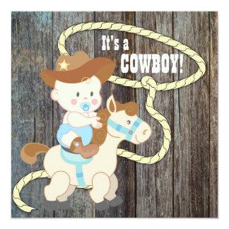 Fiesta de bienvenida al bebé de madera del vaquero invitación 13,3 cm x 13,3cm