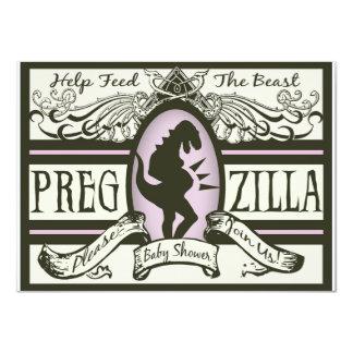 Fiesta de bienvenida al bebé de Pregzilla Invitación 11,4 X 15,8 Cm