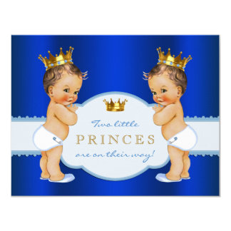 Fiesta de bienvenida al bebé de príncipe Twin Boy Invitación 10,8 X 13,9 Cm