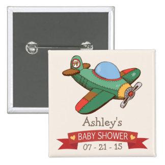 Fiesta de bienvenida al bebé del aeroplano del chapa cuadrada 5 cm