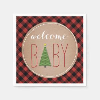 Fiesta de bienvenida al bebé del árbol de navidad servilleta de papel