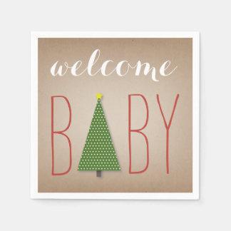 Fiesta de bienvenida al bebé del árbol de navidad servilletas de papel
