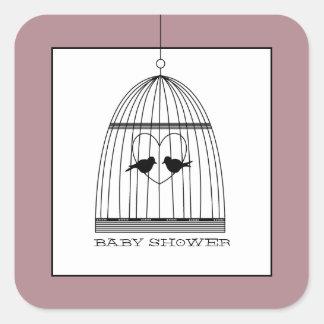 Fiesta de bienvenida al bebé del Birdcage del Pegatina Cuadrada