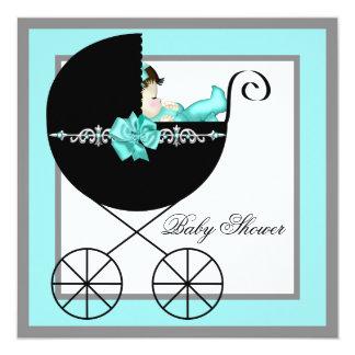 Fiesta de bienvenida al bebé del carro de bebé invitación 13,3 cm x 13,3cm