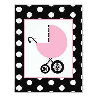 Fiesta de bienvenida al bebé del chica - carro y invitación 10,8 x 13,9 cm