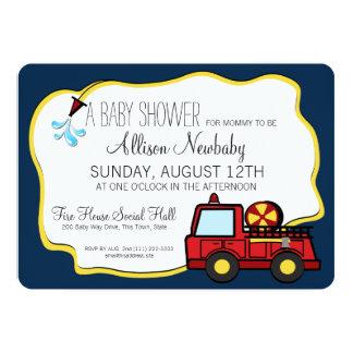 Fiesta de bienvenida al bebé del coche de bomberos invitación 12,7 x 17,8 cm