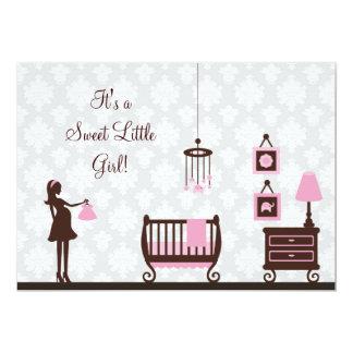 Fiesta de bienvenida al bebé del damasco: Chica: Invitación 12,7 X 17,8 Cm