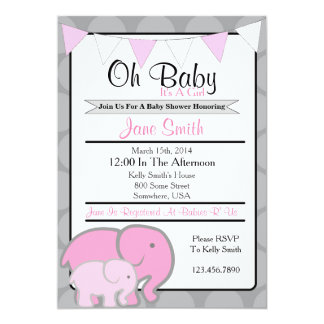 Fiesta de bienvenida al bebé del elefante invitación 12,7 x 17,8 cm