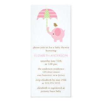 Fiesta de bienvenida al bebé del elefante rosado invitación 10,1 x 23,5 cm
