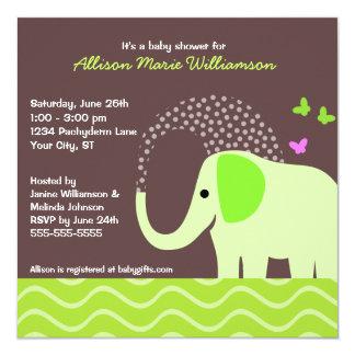 Fiesta de bienvenida al bebé del elefante y de las invitación 13,3 cm x 13,3cm