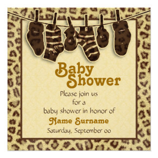 Fiesta de bienvenida al bebé del estampado de anim invitaciones personales