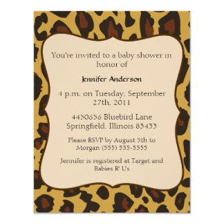 Fiesta de bienvenida al bebé del leopardo invitación 10,8 x 13,9 cm
