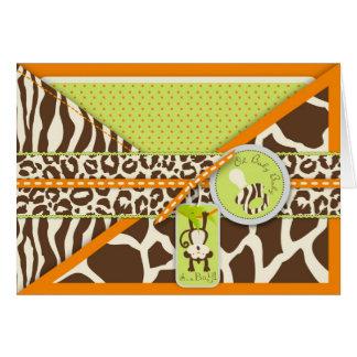 Fiesta de bienvenida al bebé del mono del safari y tarjeta de felicitación