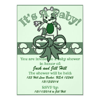 Fiesta de bienvenida al bebé del MOO - verde Invitación 13,9 X 19,0 Cm