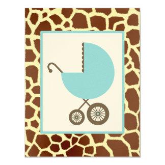 Fiesta de bienvenida al bebé del muchacho - carro invitación 10,8 x 13,9 cm