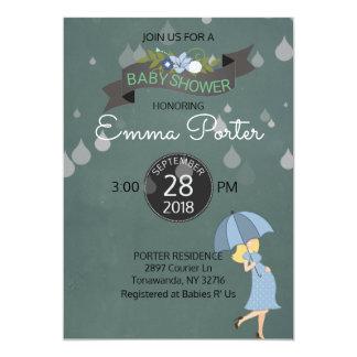 Fiesta de bienvenida al bebé del paraguas de la invitación 12,7 x 17,8 cm