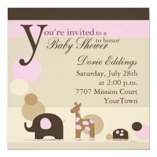 Fiesta de bienvenida al bebé del peluche en rosa invitación 13,3 cm x 13,3cm