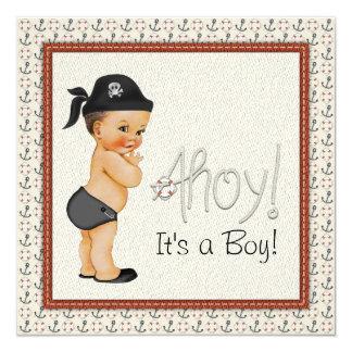Fiesta de bienvenida al bebé del pirata invitación 13,3 cm x 13,3cm