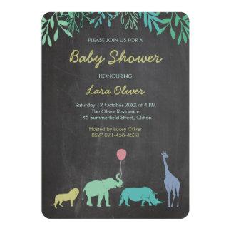 Fiesta de bienvenida al bebé del safari (oscura) invitación 12,7 x 17,8 cm