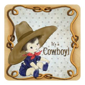 Fiesta de bienvenida al bebé del vaquero del invitación 13,3 cm x 13,3cm