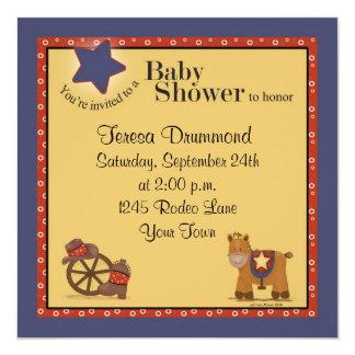 Fiesta de bienvenida al bebé del vaquero y de la invitación 13,3 cm x 13,3cm