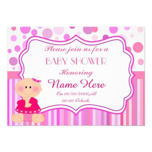 fiesta de bienvenida al bebé, ducha de la niña, es invitación personalizada