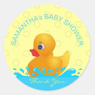 Fiesta de bienvenida al bebé Ducky de goma azul Pegatina Redonda