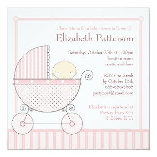 Fiesta de bienvenida al bebé dulce del carro de la invitación 13,3 cm x 13,3cm