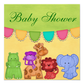 Fiesta de bienvenida al bebé dulce del safari de invitación 13,3 cm x 13,3cm