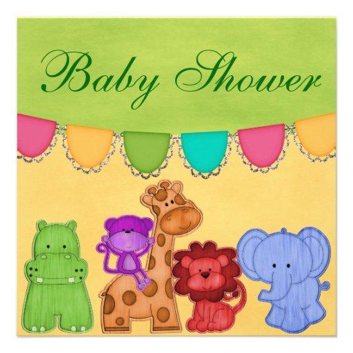 Fiesta de bienvenida al bebé dulce del safari de l invitación personalizada