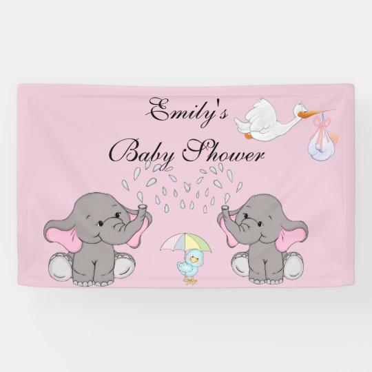 Fiesta de bienvenida al bebé, elefantes, BlueBird Lona