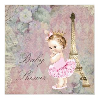 Fiesta de bienvenida al bebé elegante de princesa invitación 13,3 cm x 13,3cm
