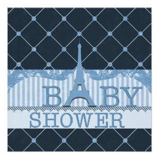 Fiesta de bienvenida al bebé elegante del azul de invitación personalizada