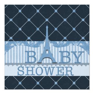 Fiesta de bienvenida al bebé elegante del azul de invitación 13,3 cm x 13,3cm