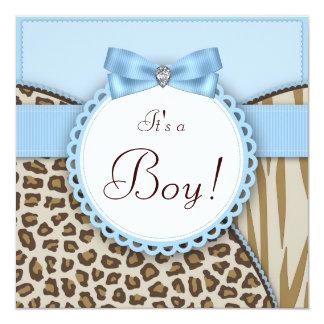 Fiesta de bienvenida al bebé elegante del safari invitación 13,3 cm x 13,3cm