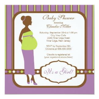 Fiesta de bienvenida al bebé embarazada moderna invitación 13,3 cm x 13,3cm