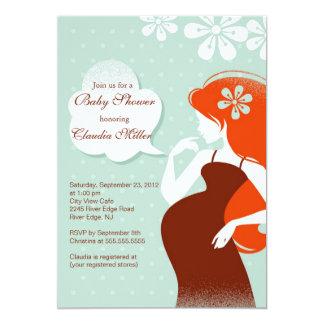 Fiesta de bienvenida al bebé embarazada moderna invitación 12,7 x 17,8 cm