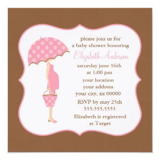 Fiesta de bienvenida al bebé embarazada rosada de invitación 13,3 cm x 13,3cm