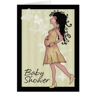 Fiesta de bienvenida al bebé en crema y marrón tarjeta de felicitación