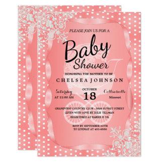 Fiesta de bienvenida al bebé en un coral y un invitación 12,7 x 17,8 cm
