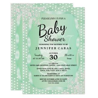 Fiesta de bienvenida al bebé en una verde menta y invitación 12,7 x 17,8 cm