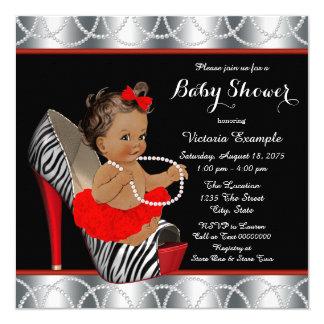 Fiesta de bienvenida al bebé étnica de la cebra de invitación 13,3 cm x 13,3cm