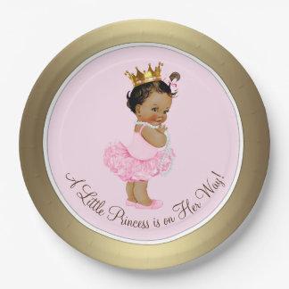 Fiesta de bienvenida al bebé étnica de princesa plato de papel
